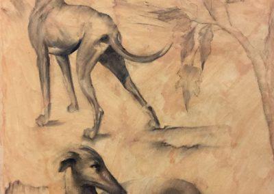 Chiens et feuillages - Fusain sur papier - 100 cm x 55 cm