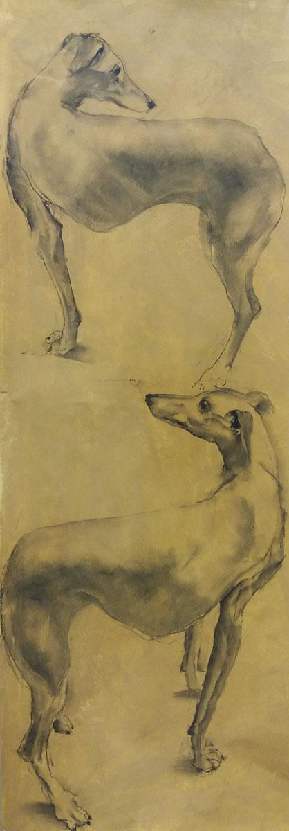 Djinn attitude - Etude au fusain - 110 x 38 cm