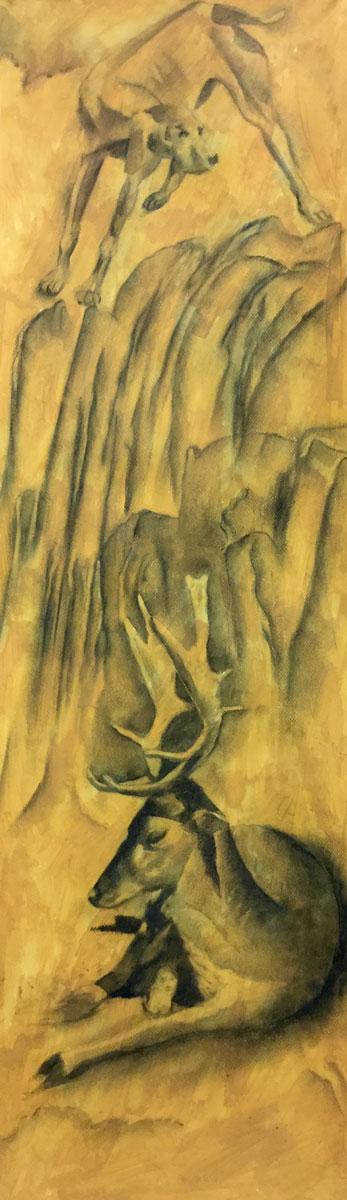 Etude pour Actéon - Fusain sur papier - 101 cm x 30 cm
