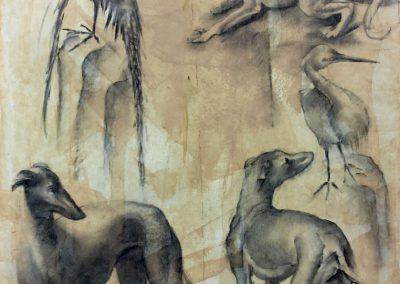 Les oiseaux et chiens - Fusain 50 cm x 65 cm