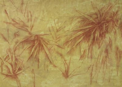 Feuillages aquatiques - Etude au pastel - 70 cm x 100 cm