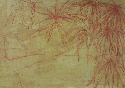 Feuillages aquatiques et branches - Pastel - 70 cm x 100 cm