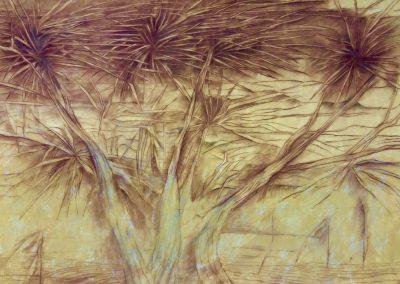 Feuillages dans le vent - Pastel - 70 cm x 100 cm