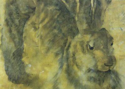 Le lièvre d'Albrecht - fusain sur papier 50 cm x 32 cm