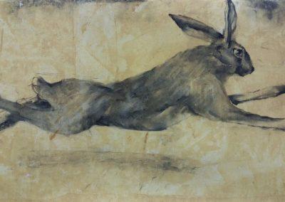 Lièvre fuyant - fusain sur papier 32 cm x 50 cm