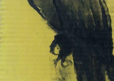 Perroquet vénitien - Fusain sur carton 39 cm x 17 cm