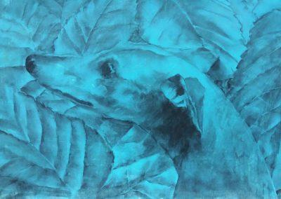 Tête de chien dans les feuillages - Etude au fusain - 32 x 50 cm