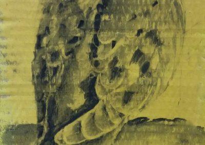 Tourterelle se reposant - Fusain sur carton 39 cm x 17 cm