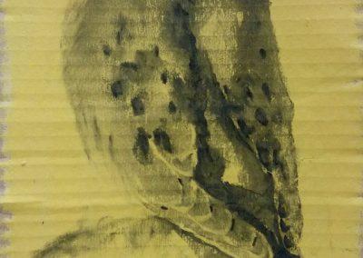 Tourterelle sur une branche - Fusain sur carton 33cm x 17 cm