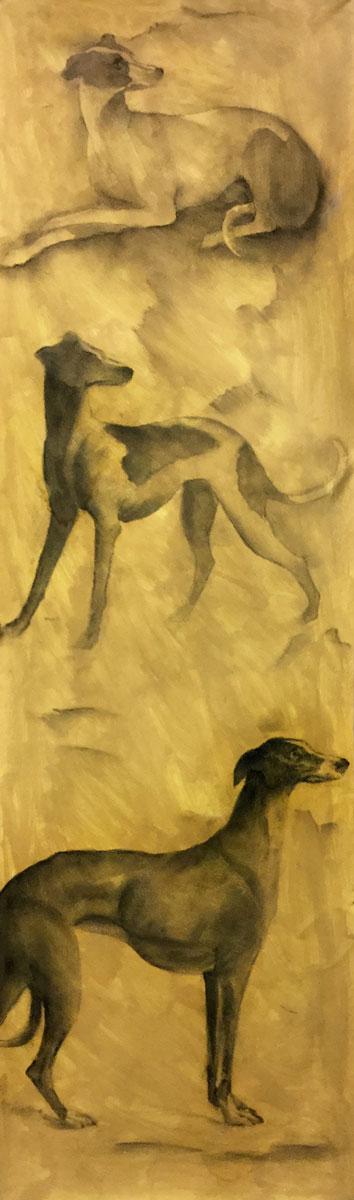 Trois chiens - Fusain sur papier - 101 cm x 30 cm