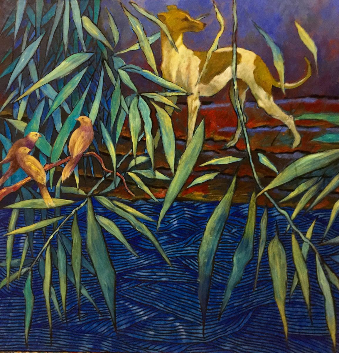 Chien au bord de la rivière - Technique mixte sur toile - 75 cm x 73 cm