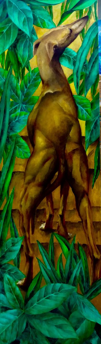 Chien dans les feuillages huile sur bois 110cm x 36 cm