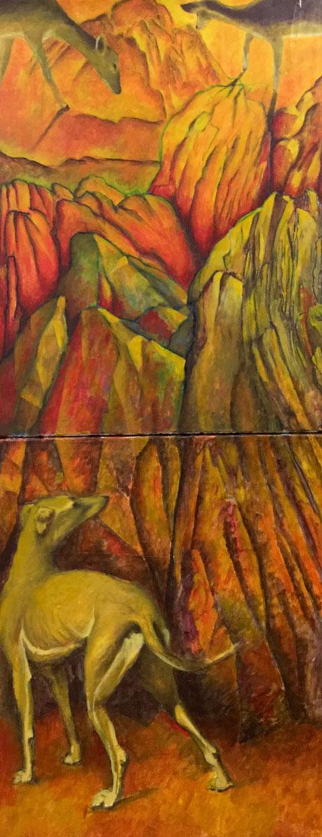 Chien rochers et biches Technique mixte sur toile - Diptyque - 130 cm x 65 cm