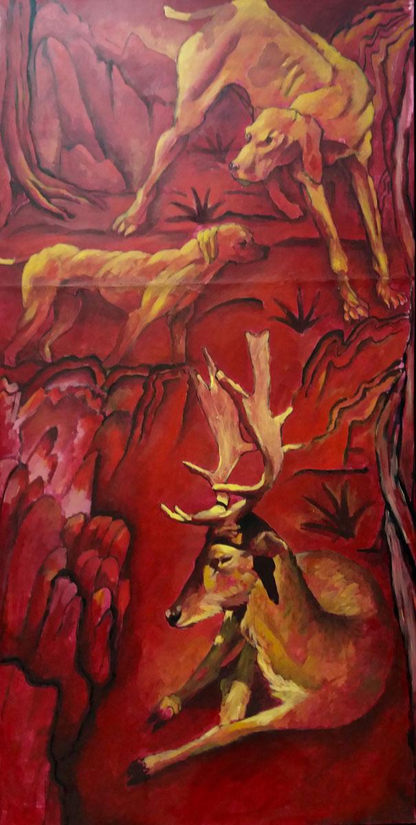 Actéon - Technique mixte sur toile - 100 cm-x 50 cm