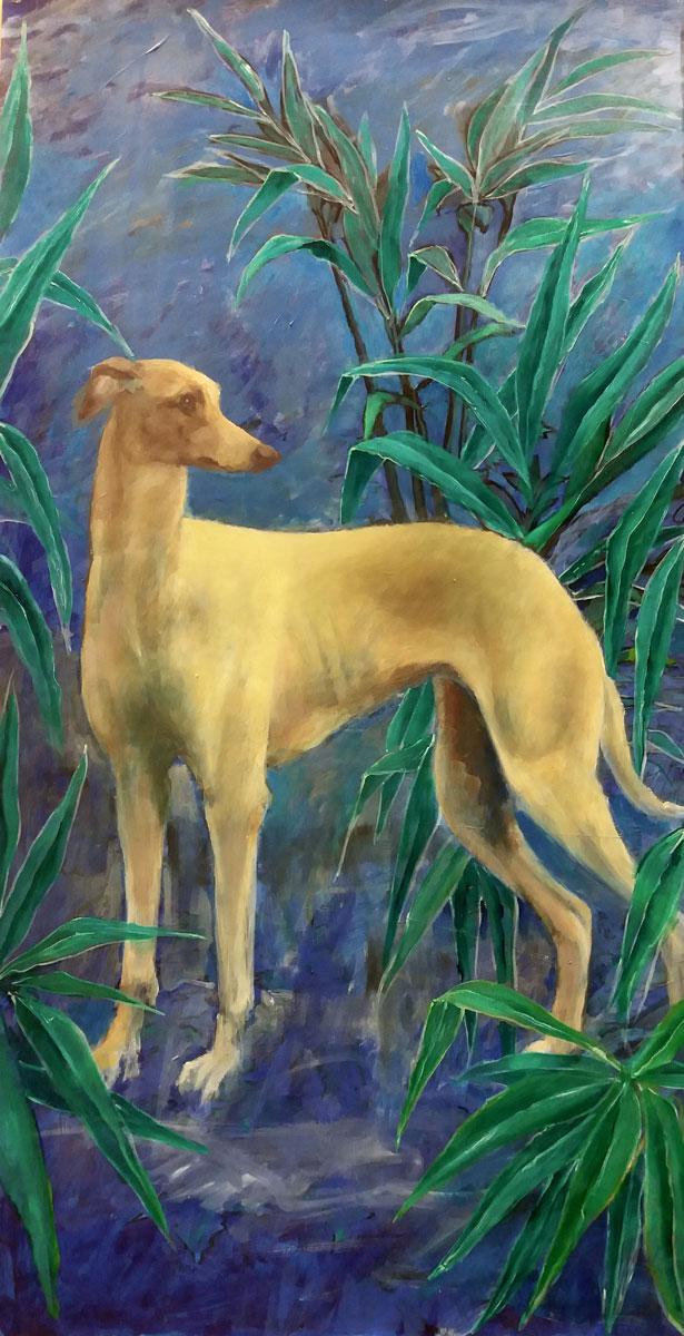 Le chien de Séville - Huile sur panneau - 75x39 cm