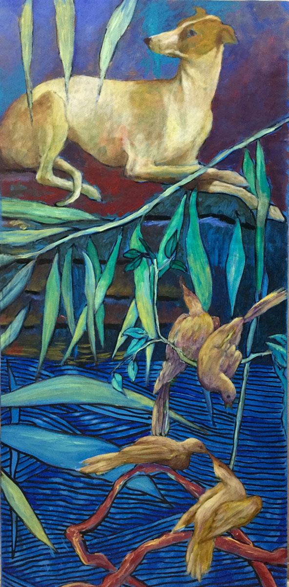 Le chien jaune et les oiseaux amoureux - Technique mixte sur bois - 75 cm x 37 cm