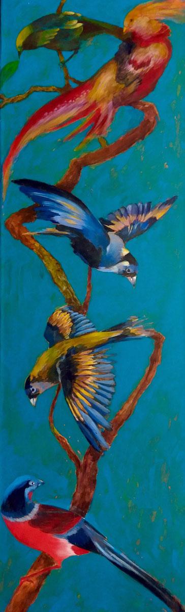 Oiseaux sur une branche - Technique mixte sur toile - 100 x 30 cm