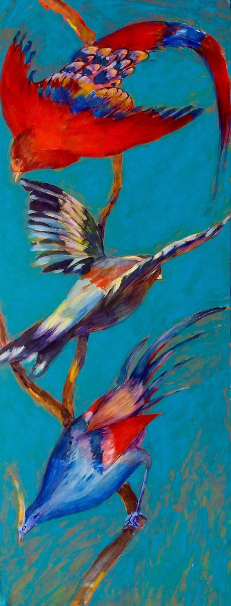 Trois oiseaux - Technique mixte sur bois - 65 x 25 cm