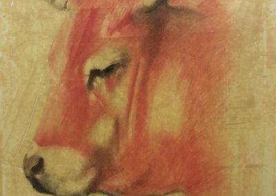 Profil d'une vache - Sanguine sur papier 65 cm x 50 cm