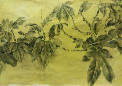 Branche de figuier – Fusain sur papier 105 x 45 cm