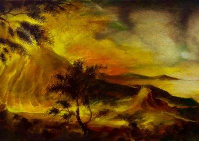 """Étude pour """"Éruption"""" Huile sur toile 19cm x 33 cm"""