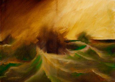 L'automne est là, le vent de retour - Etude huile sur toile - 22 cm x 27 cm