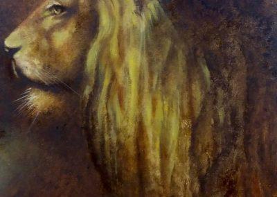 Lion de profil - Huile sur bois 30 cm x 24 cm
