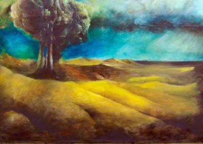 Orage sur la plaine - huile sur toile - 73 cm x 92 cm