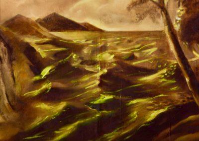 Rivage agité, la brise s'est levée - Etude huile sur toile - 24 cm x 32 cm