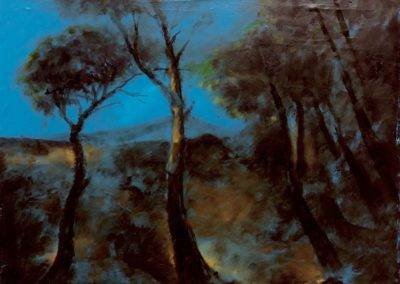 Arbres devant la montagne - Huile sur toile - 24 cm x 32 cm