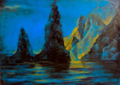 Les îles Skellig - Huile sur toile - 30 cm x 42 cm